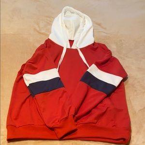 Unisex Stripe contrast sleeve hoodie